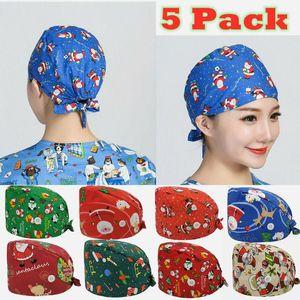 5PCS Lot Wholesale With Button Unisex Christmas Print Scrub Cap With Sweatband Women Men Working Caps Adjustable Scrub Hats New