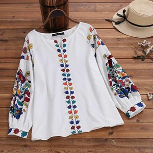 Vintage Floral Printed Bohemian Party Blouse Plus Size Spring Tunic Tops Women Casual Long Sleeve Shirts Female Blusas 7