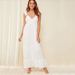 Sleepwear Donne Donne Pure Cotone Bianco Sling Girl Service Estate Fresh Princess Retro Sexy Lotus Leaf Leaf NightDress1