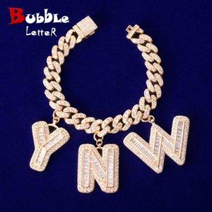 Custom Name Baguette Letters With 10MM Cuban Chain Bracelet Men's Zircon Hip Hop Rock Jewelry Letter Replaceable 200928