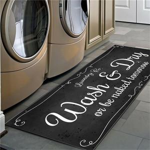 Non Slip Floor Mat Laundry Room Mat Soft Flannel Carpet Entrance Doormat Self-Service Laundry Bath Mat Balcony Area Rugs 201225
