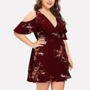 Bohemian Print Dress Cold Shoulder Short Sleeve V Neck Strapless Womens Plus Size Elegant Boho Dresses robe ete femme 4EM