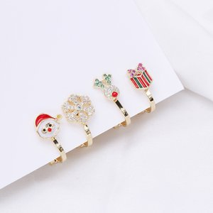 2020 high quality Christmas style no pierced ear bone clip jewelry deer Santa Claus 18k gold plated zircon earrings Christmas gift for women