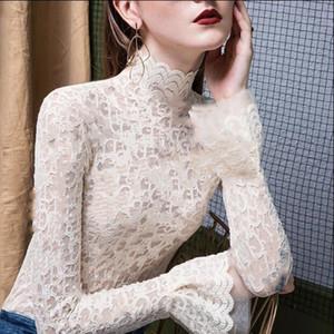 Sıcak satış tarzı kadın sonbahar kış fanila ünlü aynı stil yüksek mizaç dantel seksi mikro uzun kollu