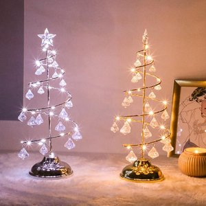 2020 Christmas LED Light Christmas Tree Lamp Decorative Night Lights with Crystal Pendants for Bedroom Sitting Room