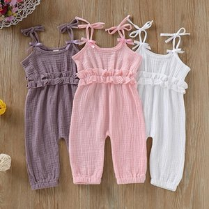 Summer Baby Girls Cotton And Linen Solid Sleeveless Suspenders Pants Overalls Trousers o k
