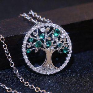 wholesaleHuitan Delicate Wishing Tree Women Necklace Green Purple Stone Birthday Present High Quality Pendent Necklace Fashion Jewelry