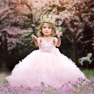 Lovely Pink Pageant Flowers Girls Dresses Spaghetti Lace Beads Ruffles Princess Ball Gown Toddlers Birthday Party Gowns For Wedding Evening