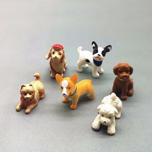 6pc Dog Animal Set Miniature Dollhouse Ornament Mini Toy Home Craft Fairy Bonsai Decor Cake Decoration DIY Accessories Y0107