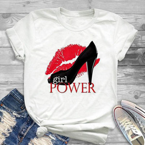 Womens Shirt Fashion Red Lip High heeled Shoes Power Printed T shirt Female Summer Short sleeved Graphic Casual Tops