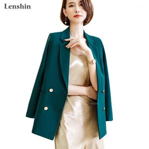 Lenshin Double Breasted Contrast Blazer Blazer Allentato High Street Casual Style Style Giacca Ufficio Lady Coat Wear1