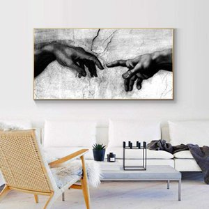Black and White Creation of Adam Handbook God Print Canvas Canavs Wall Art Pictures for Living Room Decor,Painting on Canvas
