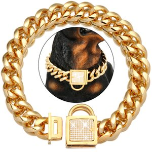 NIKPET Gold Color Dog Chain Collar with Secure Buckle Cubic Zirconia Stone 18K Metal Stainless Steel Cuban Link Chain 19MM Z1127