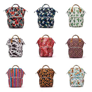 Sunflower Diaper Bag Leopard Mommy Backpack Waterproof Nappy Bag Large Capacity Travel Backpack Baby Nursing Stroller Bags LLS104