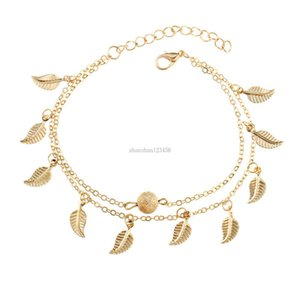 Women Double Layer Tassel Leaf Anklet Chain Bracelets Summer Beach Foot Chain Fashion Jewelry for Women will and sandy jewelry