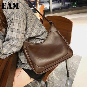 [EAM] Women New Vintage Khaki White Line Big Pu Leather Personality All-match Crossbody Shoulder Bag Fashion Tide 2020 18A0018