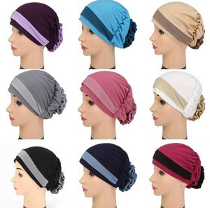 2021 Ladies Pure Color Flowers Cancer Hat Chemo Two Color Cap Womens Muslim Hair Loss Turban Head Wrap Cover Adjustable Hats