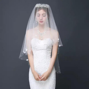 Exquisite Wedding Charming Headdress Marriage White Flower Accessories Short Lace Bridal Veil