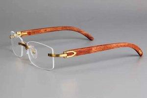 Randlose Brille Rahmen Optische Eyewear Wood Silver Klare Linse Männer Brillenrahmen mit Kasten
