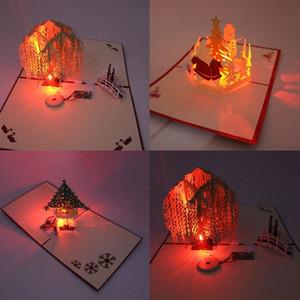 1pc 3D Laser Light Greeting Festival Up Postcard Gifts Handmade Craft Birthday Christmas Music Paper Card