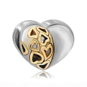Valentinstag großes loch großhandel 2 tonte herz liebe europäische wulst pandora chamilia biagi charme armband