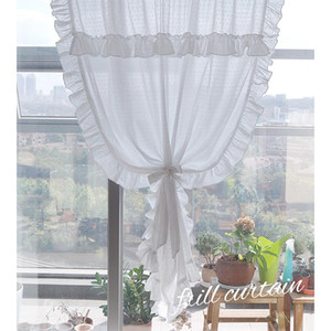 Pastoral Sheer Curtains for Living Room Bedroom White Lace Tulle Door Kitchen Short Curtain Simple Voile Curtain Window Decor