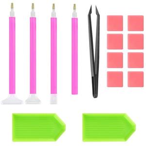 Kits d'outils de peinture de diamants 15 pièces Diy Diy 5D Outils d'outils avec pince à pince à pinces en plastique Tweezers Stylo à aiguilles 4 8BB E1