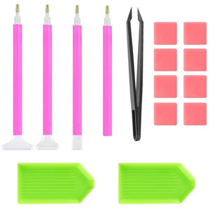 15 pezzi Diamond Painting Tool Kit Kit Beginner FAI DA TE Strumenti di pittura 5D Set con Glue Tweezers Vassoio in plastica Penna ago 4 8BB E1
