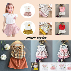 62Colors Baby Girl Summer Tops And Shorts Sets Toddler Lace Floral Cute Clothes Infant kids New clothes girls Costume sets Send DHL