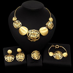 Yulaili High Quality Gold Color Jewelry Sets For Women African Beads Jewelery Fashion Necklace Earrings Bracelet Ring Free Shipping