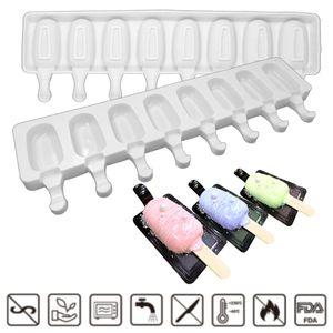 Home Fabriqué à la maison Silicone Silicone Crème glacée Moulins Faisants Bâtons de bois Popsicle Moule en silicone Moule de glace Cube Glace Moules de glace DHE3416