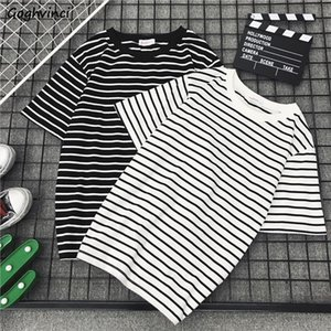 T shirt Summer Men Couples O neck Batwing Short Sleeve Tees Striped Simple Mens Ins Harajuku All match Streetwear Chic Tshirt BF