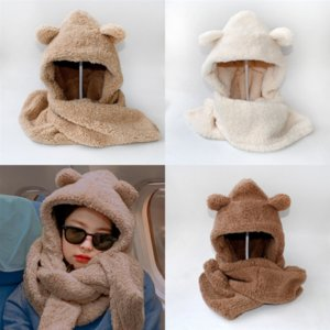 HL2RU Knitted Scarf and Hat Set for lovely Women and Children Luxury Winter Warm Beanie cap Crochet with Real Fur Hats Scarves Sets