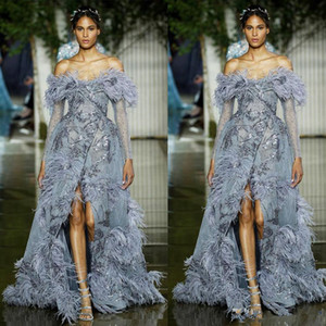 Zuhair Murad Prom Dresses Luxury Fur Sequins Off Shouder Evening Gowns Front Split Long Sleeve Celebrity Red Carpet Fashion Dresses