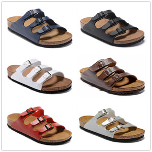 Florida Designer Genuine leather loafers Cork slippers with buckle Fashion women Ladies Beach sandals Casual Flats New Free shipping
