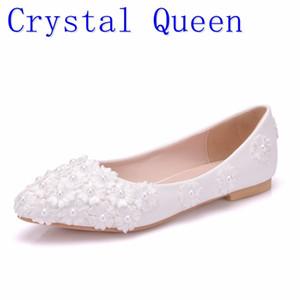 Kristall-Königin-Ballett-weißer Perlenspitze flacher Ferse Freizeitschuhe spitzer Zehe Frauen Hochzeit Prinzessin Wohnungen Q1207