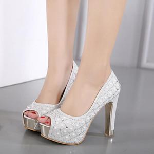 Platform Sandals Black Shoes Woman Heels 11CM Crystal Shoes Peep Toes High Heel Shoe Woman Silver Heels for Women Plateau Schuhe