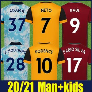2020 Wolves Soccer Jersey Kit Kit Kit Home Giallo J.Moutinho Raul Neves Podence Camicie da calcio Dendoncker Adama Wolves Uniforme da calcio 20/21
