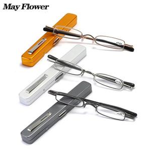 May Flower New Mini Pen Clip Portable Reading Glasses Metal Spring Hinge Presbyopic Eyewear With Pen Case Magnifier Eyewear +3.5