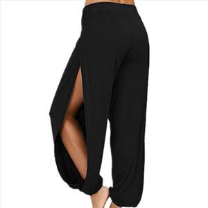 Pantalones para mujer Color sólido Split Split High Ejercicio Ejercicio Ejecutar Pantalones de ocio Pantalones Fitness Leggings Entrenamiento Trainning Pantalones 25