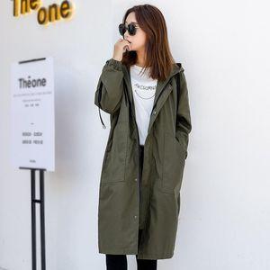 Women's Trench Coats 2021 Spring Autumn Long Women Loose Large Size Casual Hooded Korean Windbreaker Overcoat V742