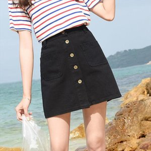 INS Fashion On Sale 2021 Summer Women Ladies Casual Short Mini Denim Skirt jupe faldas femme korean button Aline jean skirts