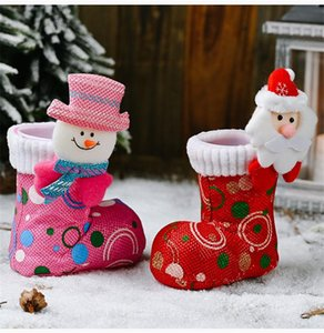 Christmas Funny Candy Boot Cute Ornaments Cartoon Bright Cloth Shoes Stockings Christmas Decoration Supplies Xmas Gift Holders