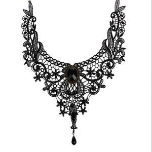 Velishy Gothic Punk Style Gem Décoration Femmes Noir Dentelle Perles Collier Collier Collier Chocker Bijoux