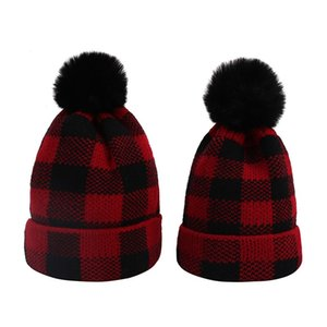 Knitted Warm Cap Autumn Winter Red Black Lattice Adult Kids Hat Christmas Hairball Baby Beanies Boy Girl Fashion 7my G2
