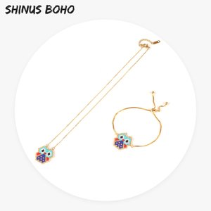SHINUSBOHO Fashion Cartoon Femme Jewelry Sets Lovely Owl Seed Bead Pendant Bracelet & Necklace for Women Party Gift Dropshipping