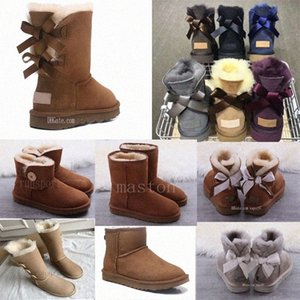 2021 Bow-Knoten WGG Womens Australia Classic Hall Hälfte Sneakersuggs.wggs.ugg Bug Girl Schnee Winter Knöchelstiefel Schuhe C8NG #