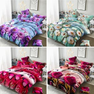 Bedding Set luxury 3D Flower Butterfly Bedding Set Bed Sheet Duvet Cover Pillowcase Cover set Twin Queen size Bedspread Bedlinen Q1127
