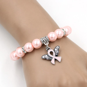 Wholesale New Arrival Pearl Bead Breast Cancer Awareness Bracelet Angel Wings Pink Ribbon Charms Bracelet Jewelry for Cancer Center