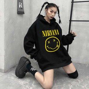 Nirvana Hoodies women Hooded Simple All match Leisure Oversize Pullovers Korean Style Warm Kawaii Loose Streetwear Sweatshirts